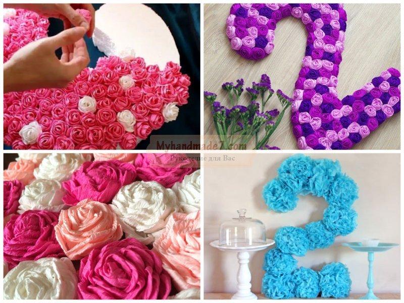 Цветы из салфеток для цифры своими руками 681