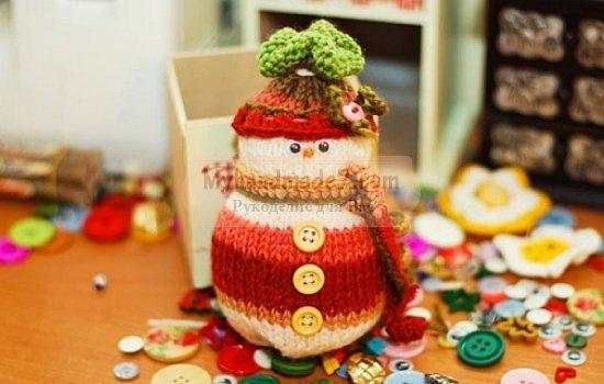 Вязаный снеговик - отличная новогодняя поделка