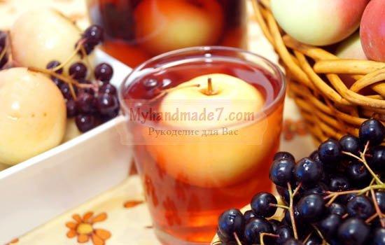 Компот из яблок и рябины на зиму. Вкусные варианты с фото