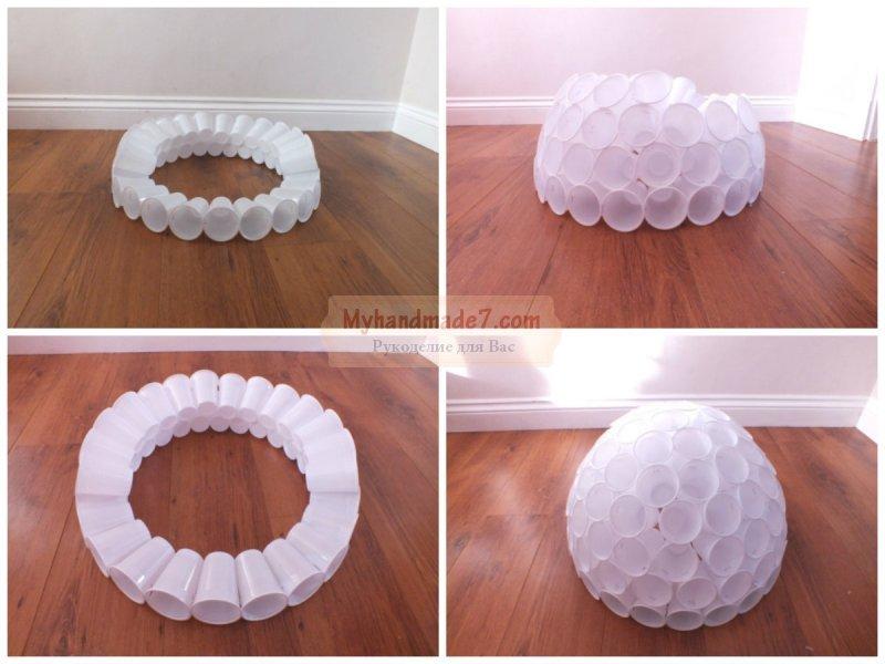 Как сделать снеговика из пластиковых стаканчиков?