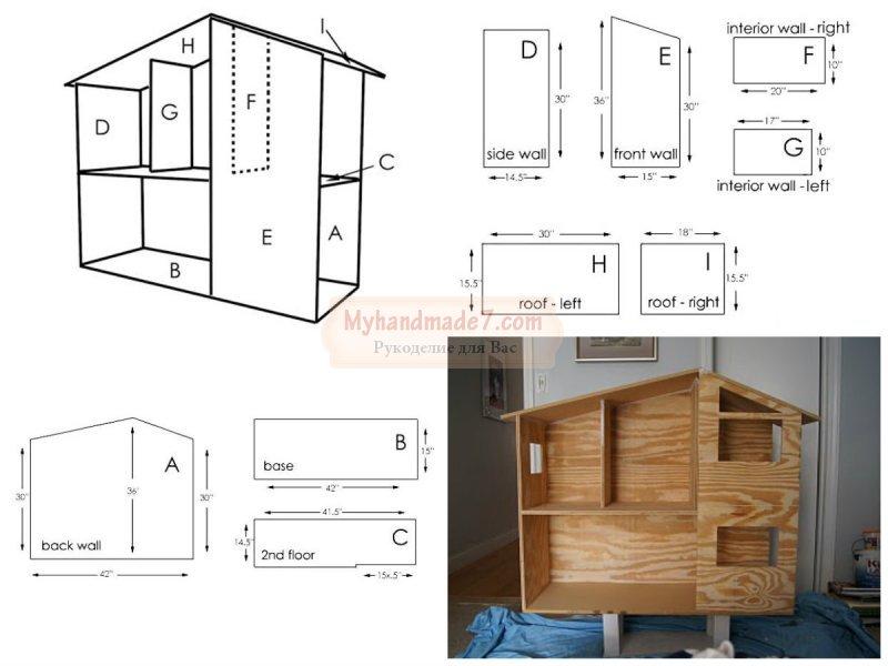 Дом для барби своими руками фото из картона схема размеры 37