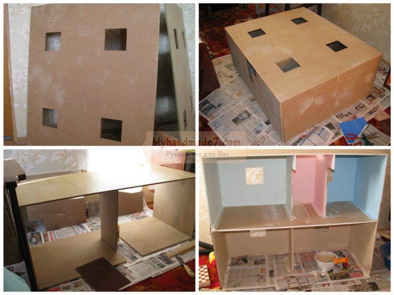 Как сделать из коробки кукольный домик 908