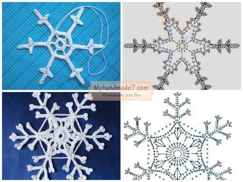 Вязание снежинок крючком: схемы с описанием пошагово
