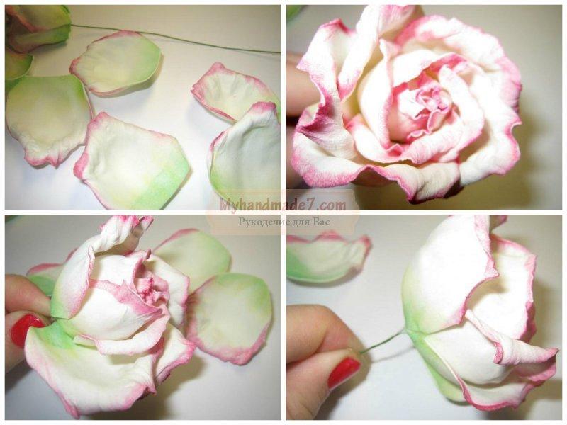 Красивая роза из фоамирана мастер класс с пошаговым