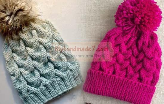 Вязание шапки с косой: схемы с описанием