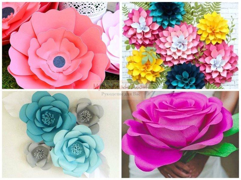 Большие цветы из гофрированной бумаги; пошаговый мастер-класс 89