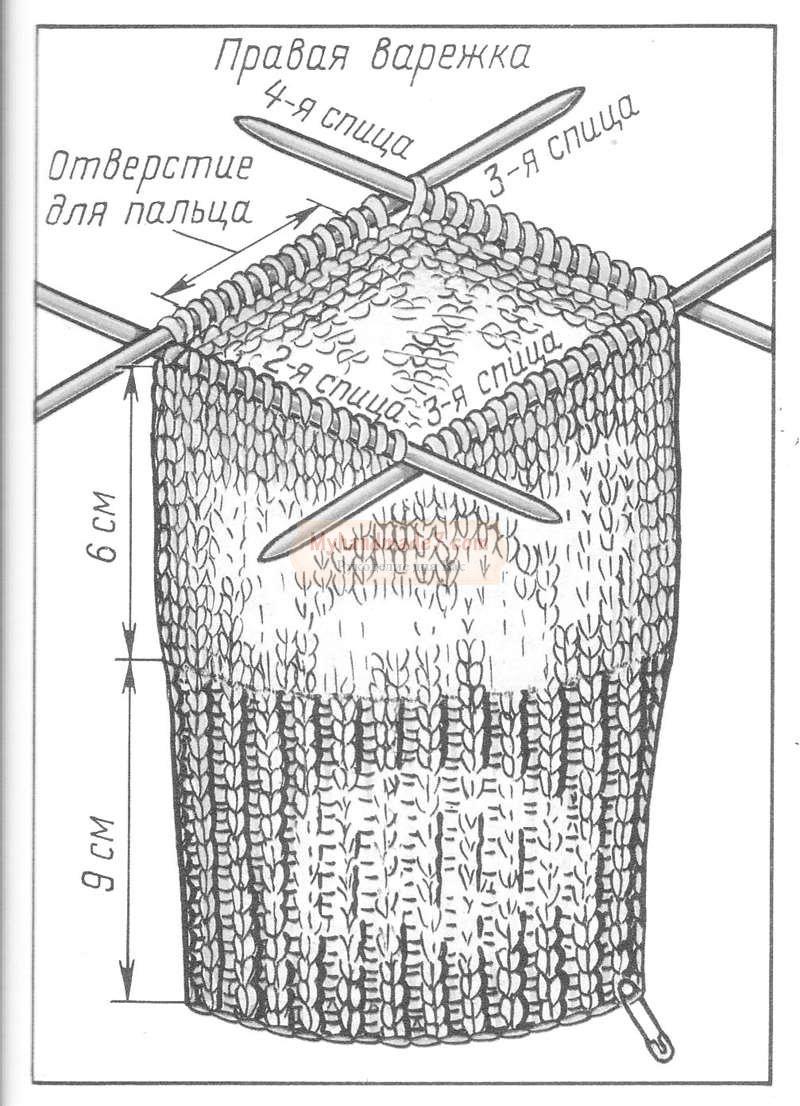 узоры для варежек спицами