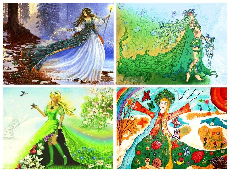 Как нарисовать весну? Пошаговая инструкция с фото  Девушка Осень Рисунок