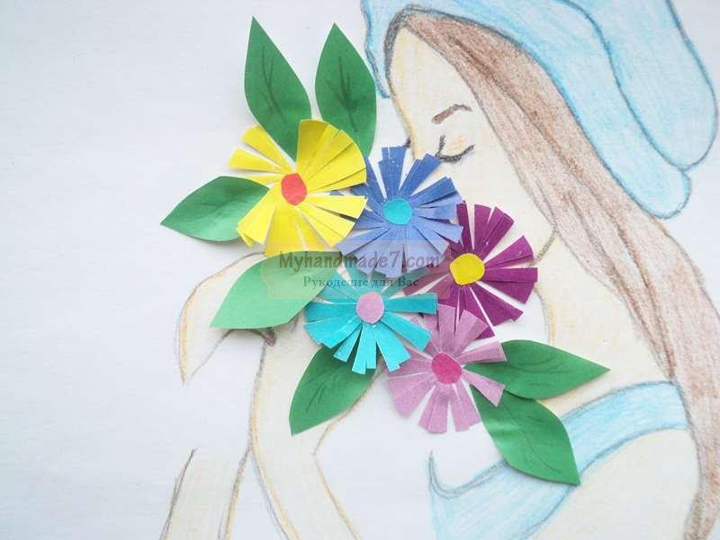 """Картина """"Девушка с цветами""""своими руками. Пошаговый мастер ..."""